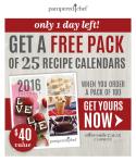 Recipe Calendar Free Pack Consultant Email